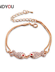 Women's Charm/Chain/Tennis Bracelet Cubic Zirconia/Alloy/18K Gold Plated Crystal/Cubic Zirconia