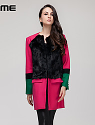 R.ME France 2015 Women's Vintage/Casual/Party/Work Medium Long Sleeve Long Coat (Wool Blends &cony hair)
