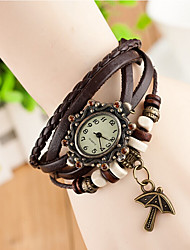 Hand Woven Women's Round Dial Umbrella Leather  Band Quartz Analog  Braceiet Watch(Assorted Color) Cool Watches Unique Watches