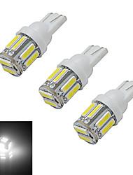 3W T10 Lampe de Décoration 10 SMD 7020 210lm lm Blanc Froid DC 12 V 3 pièces