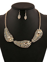 Alloy Gold Plated Leaf With Cubic Zirconia Jewelry Sets (Including Necklace,Earrings)
