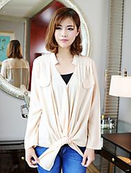Women's Sexy Casual Micro Elastic Long Sleeve Regular Shirt (Cotton)