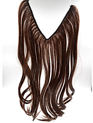 20inch #4 Medium Brown Halo Hair Extensions Synthetic Flip in Hair Extensions Best Quality 004