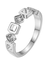T&C Women's Concise Hollow Square Crystal Ring 18K White Gold Plated Austrian Crystals Jewelry
