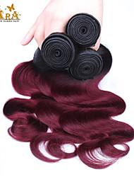 3st / lot 10 '' - 26 '' ombre hår boundles eurasiska virgin hår mänskliga hårförlängningar siden rakt färg 1b / 30 mänskliga inslag