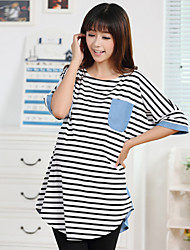Maternity Fashion Stripes Contrast Color Pocket Stepped Hem T-shirt