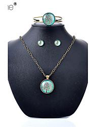 Lureme®  Simple Style Retro  Blue Dream Land  Life Tree Time Gem Alloy Necklace Earrings Bracelet Suit