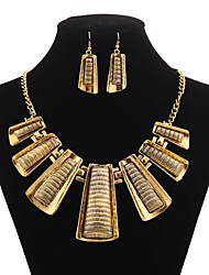 Exaggerated Geometrical Rectangle Pattern Jewelery Set(Earrings & Necklace)