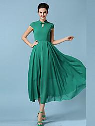 TS Vintage Maxi Inelastic Short Sleeve Midi Dress (Chiffon)