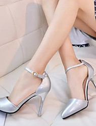 Women's Shoes Patent Leather Stiletto Heel Closed Toe Pumps Office & Career/Casual Pink/White/Silver