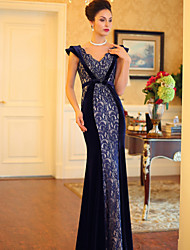 Formal Evening Dress - Dark Navy Plus Sizes Trumpet/Mermaid V-neck Floor-length Satin