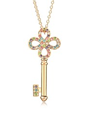 Key to My Memory Short Necklace Plated with 18K Champagne Gold Mixed Color Crystallized Austrian Crystal Stones