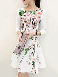 Women's Slim Vintage Floral Print ¾ Sleeve Above Knee Dress