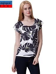 t-shirt moulante d'impression col rond Pull tout match de haut chemise Vêtements cmfc®women