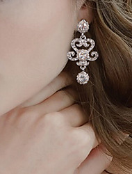 Vintage Party Wedding Princess Birde Crown Rhinestone Crystal Drop Silver Earring