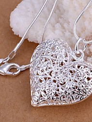 Women's Pendant Necklaces Heart Silver Plated Love Heart Fashion Silver Jewelry For Wedding Party Daily Casual 1pc
