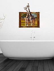 Adesivos de parede adesivos de parede 3d, beijando parede girafa decoração do banheiro mural pvc adesivos