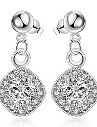 lureme® Fashion Style Silver Plated Geometry Shaped with Zircon Stud Earrings