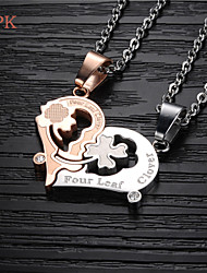 OPK®A Pair Fashion Kiss Puzzle High Quality Titanium 18 K Electroplating Diamond Lovers Necklace Love Gift