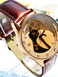 nuevos relojes de las mujeres calientes de patrones de línea zorro diamante circular cuarzo de la manera de la correa de la PU (colores