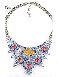 Women's Bohemian Faceted Color Gem Rhinestone Tirangle Bid Statement Necklace Yellow Red Gem Necklace