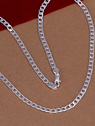 Men's Women's Chain Necklaces Silver Sterling Silver Fashion Costume Jewelry Jewelry For Wedding Party Daily Casual