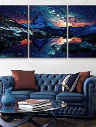 E-HOME® Stretched LED Canvas Print Art The Snow Capped Mountains LED Flashing Optical Fiber Print Set of 3