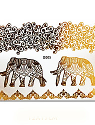 Jewelry Elephant Metalic Gold Flash Tattoo Stickers Metallic Golden Temporary Tatoo Waterproof Fake Tatto Sticker