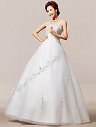 A-line Floor-length Wedding Dress -Strapless Organza
