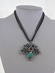 Fashion Women Alloy/Turquoise Necklace Basket Of Flowers Pendant Necklaces Daily/Casual