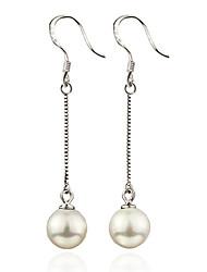 Drop Earrings Pearl Sterling Silver Screen Color Jewelry 2pcs