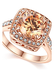 T&C Women's Vintage Crystal Party Jewelry 18k Rose Gold Plated Champagne Colour Cz Diamond Finger Ring