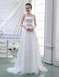 Sheath/Column Wedding Dress - White Sweep/Brush Train Strapless Lace