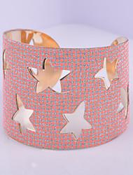D Exceed Women's Bracelet Cuff Bracelet Five Pointed Star Shape Hollow Out Design Personality Orange Wide Bracelets