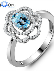 "Nobile Wedding Lady Rings Sparkling 925 silver Natural Topaz Stone ""Flower"" Wedding Ring for Women"
