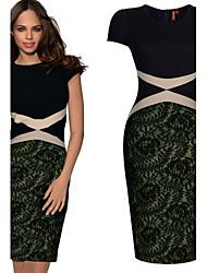 VICONE Women's Lace Stitching Bodycon OL Slim Long Pencil Dresses
