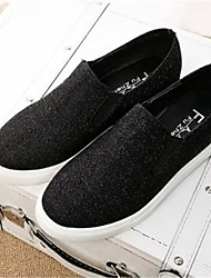 Women's Shoes Fabric Low Heel Round Toe Fashion Sneakers Casual Black/Silver/Gold