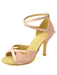 Customizable Women's Dance Shoes Latin/Salsa Satin Customized Heel Black/Blue/Yellow/Pink/Purple/Red/White/Fuchsia