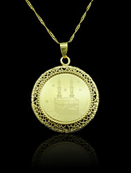18K Golden Plated Allah Muslim Mosque Hollow Out Pendant