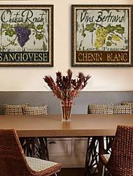 e-HOME® tela incorniciata d'arte, l'uva e il vocabolario cornice set Tela di 2