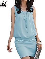 vestido sin mangas de moda elegante de la gasa de algodón de las mujeres