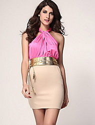 Women's Sexy / Bodycon Color Block Sheath Dress , Halter Knee-length Polyester