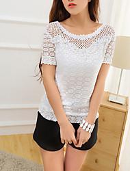 De las mujeres Camiseta - Encaje/Ahuecado Escote Redondo - Encaje - Manga Corta