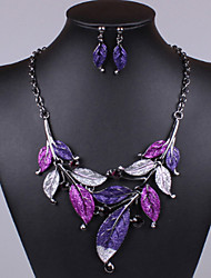 Women's European Bohemia Hand-Made Flower Card Tassel Droplets Geometry Hollow Out Alloy Jewelry Set