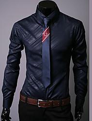 Рубашка ( Черный/Белый/Темно-синий , Хлопок ) Однотонный - Длинный рукав