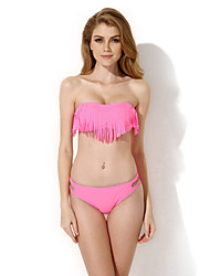 New Sexy Pink Bandeau Top with Fringe Detail at Bust Bikini Swimwear in Low Price