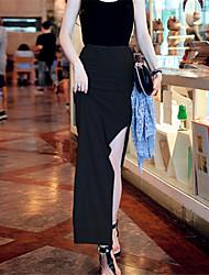 Damen Röcke  -  Leger Maxi Baumwolle Mikro-elastisch