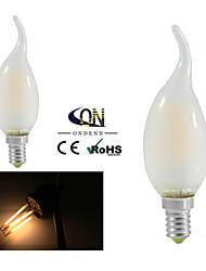 4W E14 Ampoules à Filament LED CA35 4 COB 400 lm Blanc Chaud Gradable AC 100-240 V 2 pièces
