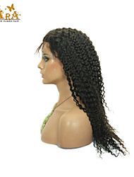 "8""-26"" Indian Virgin Hair Kinky curly Glueless Lace Front Wig Color Natural Black Baby Hair for Black Women"