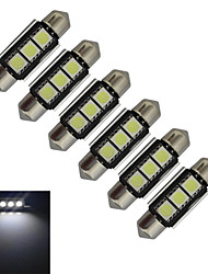 JIAWEN® 6pcs Festoon 36mm 1W 3x5050SMD 60-70LM 6000-6500K Cool White Light LED Car Light (DC 12V)